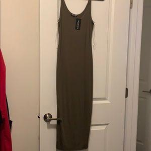 Fashion Nova Dresses - NWT olive fashion nova tank midi dress